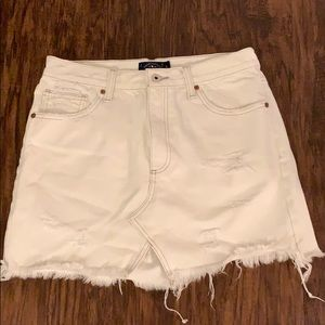 Lucky Brand Distressed White Jean Skirt